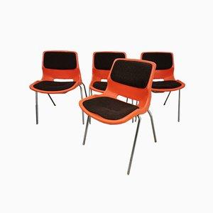 Orangefarbene Esszimmerstühle von Meblo, 1970er, 4er Set