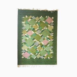 Flach Gewebter Schwedischer Teppich von Ingegerd Silow, 1960er