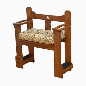 Antique Arts & Crafts Oak Narrow Bench