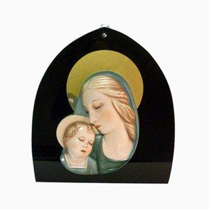 Italienische Art Deco Madonna Mutterschaft Keramik, 1930er