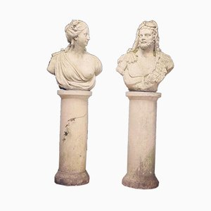 Mid-Century Roman Composition Busts on Plinth Bases, Set of 2