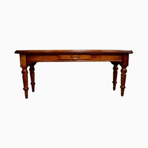 Victorian Oak Library Table with Leather Top
