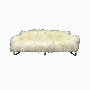 Vintage Sheepskin & Metal Frame Sofa