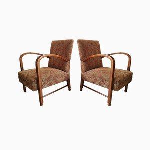 Art Deco English Armchairs, 1920s, Set of 2