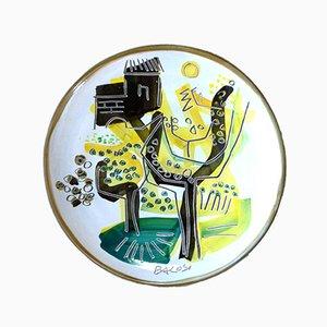 Italian Art Ceramic Pottery Plate by Manlio Bacosi for Spirale Arte, 1970s