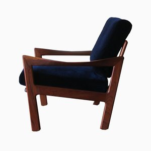 Teak & Blue Velvet Lounge Chair by Illum Wikkelsø for Niels Eilersen, 1960s
