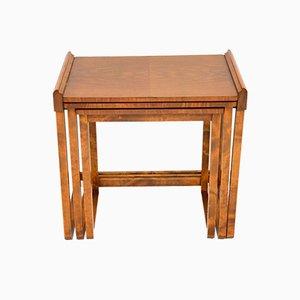 Art Deco Figured Walnut Nesting Tables, 1920s, Set of 3