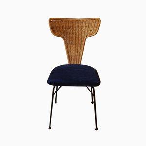 Italian Rattan, Black Metal & Blue Velvet Dining Chairs, 1950s, Set of 4