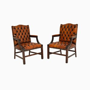 Leather Gainsborough Armchairs, 1950s, Set of 2
