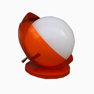 Pop Art Orange White Ball Table Lamp by Harvey Guzzini, 1960s