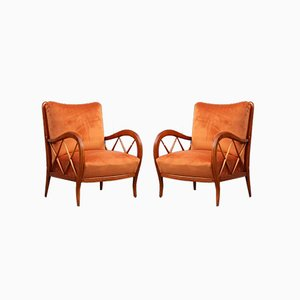 Italian Orange Velvet & Cherry Lounge Chairs by Paolo Buffa, 1950s, Set of 2