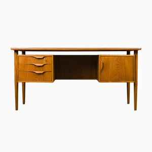 Danish Modern Teak Floating-Top Desk in the Style of Arne Vodder for Bornholm, 1960s