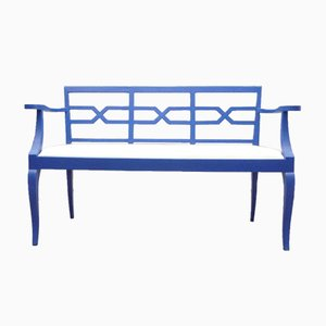 Antique Blue & Leather Bench, 1920s