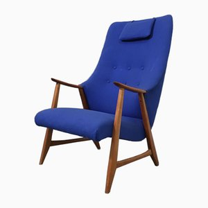 Teak and Blue Fabric Wing Dining Chair, 1960s