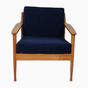 Scandinavian Blue Velvet Lounge Chair, 1960s