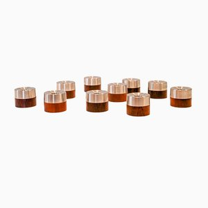 Mid-Century Danish Rosewood Candleholders by nissen richard, Set of 10