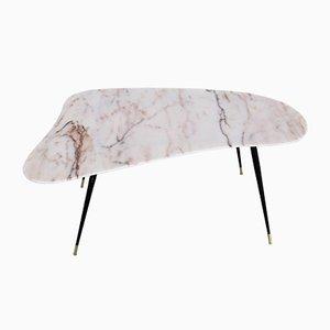 Tavolino vintage con ripiano in marmo a forma di fagiolo, anni '50