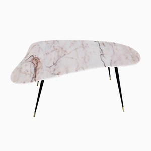 Vintage Side Table with Kidney Shaped Marble Top, 1950s