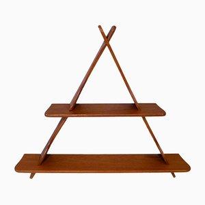 Dänisches Dreieckiges Teak Wandregal im Stil von Peder Moos, 1950er