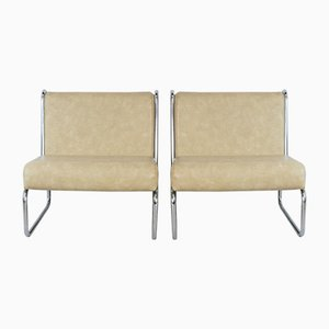 French Chromed Steel and Faux Leather Lounge Chairs, 1970s, Set of 2