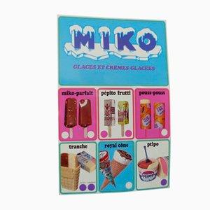 Cartel publicitario de metal para helado MIKO, años 50