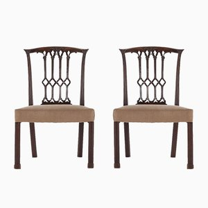 Georgian Carved Mahogany Side Chairs, Set of 2