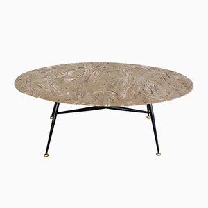 Table Basse Vintage avec Plateau Ovale en Marbre et Embouts Ajustables en Laiton, 1950s