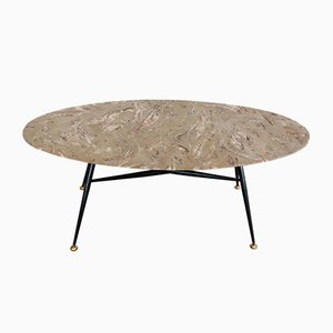 Vintage Coffee Table with Oval Marble Top & Adjustable Brass Tips, 1950s