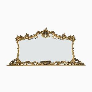 Specchio vintage in legno dorato con intarsi, anni '50