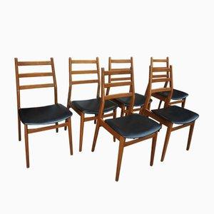 Teak & Kunstleder Esszimmerstühle, 1950er, 6er Set