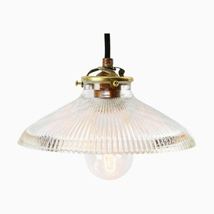 Industrielle Mid-Century Holophane Glas Deckenlampe