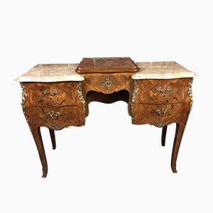Louis XV Style Dressing Table with Inlaid Marquetry Veneer & Bronze Ornaments, 1950s
