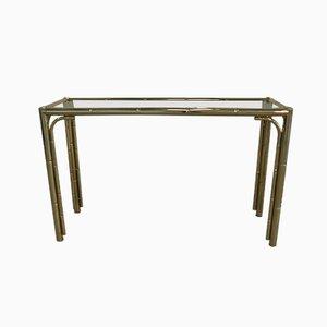 Table Console en Faux Bambou et Laiton