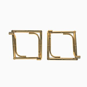 Faux Bamboo Brass Coat Racks, Set of 2