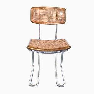 Bauhaus Style Steel and Rattan Dining Chairs, 1970s, Set of 14