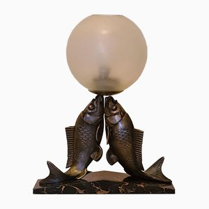Art Deco Fish Table Lamp by Melo, 1930s