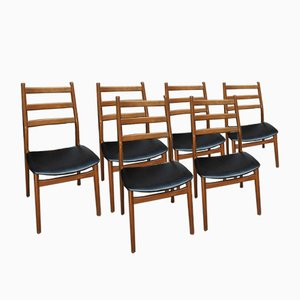 Wood and Leatherette Dining Chairs, 1960s, Set of 6