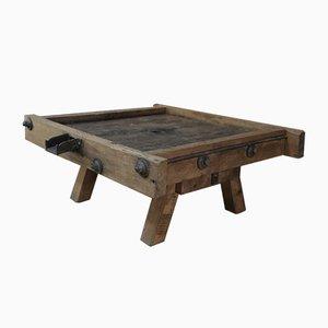 Industrial Oak Coffee Table, 1930s