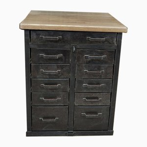 Industrial Oak and Metal Chest of Drawers, 1950s