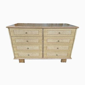 Italian Wood & Cane Chest of Drawers from Gervasoni, 1970s
