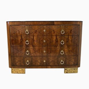 Italian Art Deco Walnut & Gold Leaf Chest of Drawers, 1930s