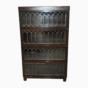 4-Tier Modular Barrister's Bookcase with Glazed & Leaded Doors from Globe Wernicke, 1920s