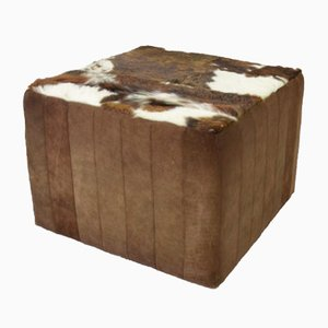Vintage Patchwork Leather and Fur Footrest