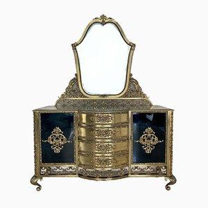 Coiffeuse Kidney en Miroir en Bronze avec Quatre Tiroirs et Deux Portes Noires en Cristal, France