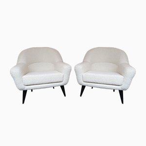 French Bouclé Fabric Lounge Chairs by Charles Ramos, 1950s, Set of 2