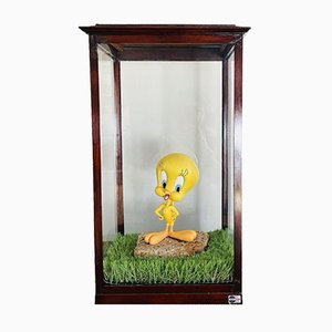 Late 19th Century Tweety in Glass in Blown Glass & Walnut Display Case