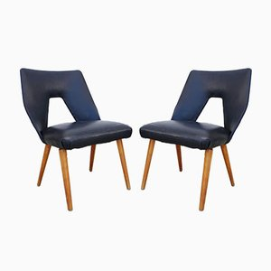 Vintage Black Leather Lounge Chairs by Unknown for Stol Kamnik, 1962, Set of 2