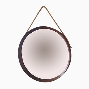 Mid-Century Scandinavian Wood & Rope Mirror, 1963