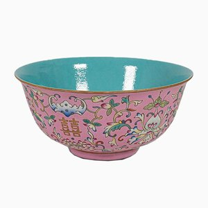 Antique Chinese Ceramic Marriage Bowl, 1880s