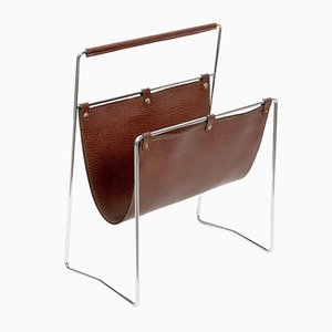 French Chromed Steel & Leather Magazine Rack, 1970s